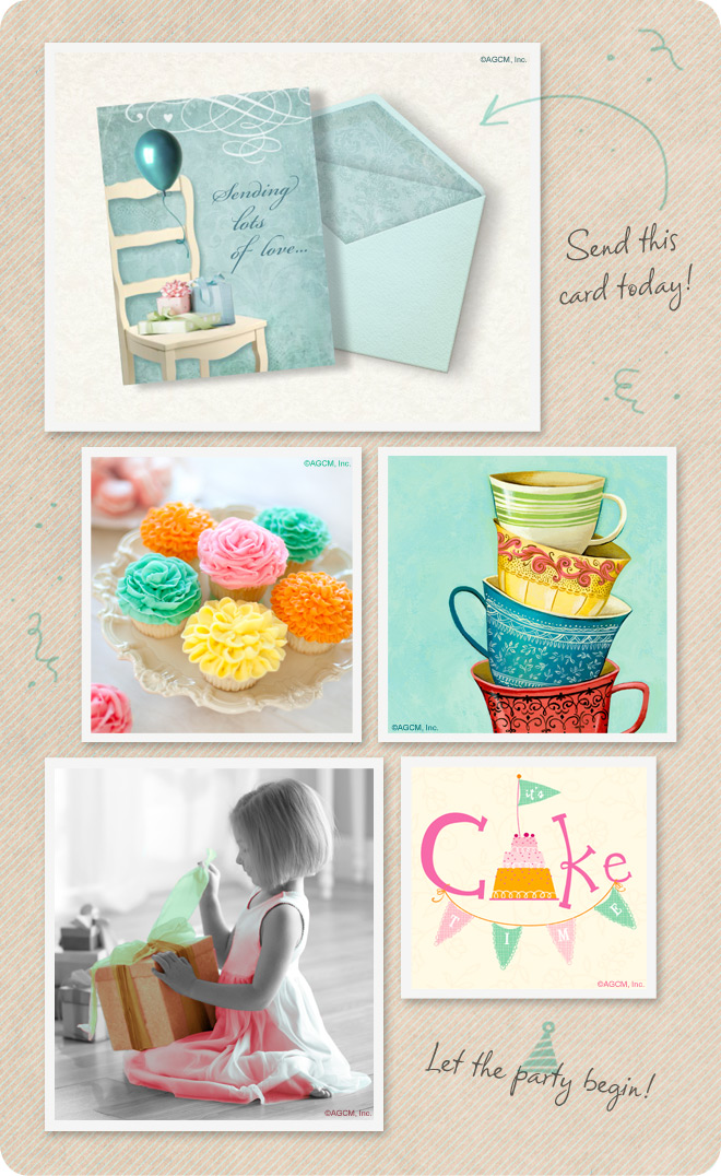 Birthday wishes cards - sweet cupcakes, teacups, cake and presents