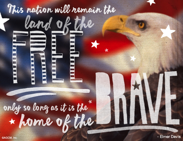 This nation will remain the land of the Free only so long as it is the home of the Brave